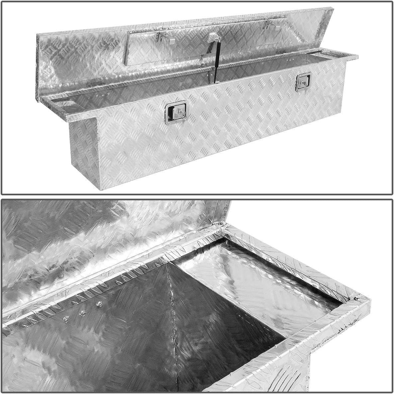 DNA MOTORING TBOX-T3-63-ALU Rear Truck Bed Trailer Key Lock Aluminum Storage Tool Box,Metallic