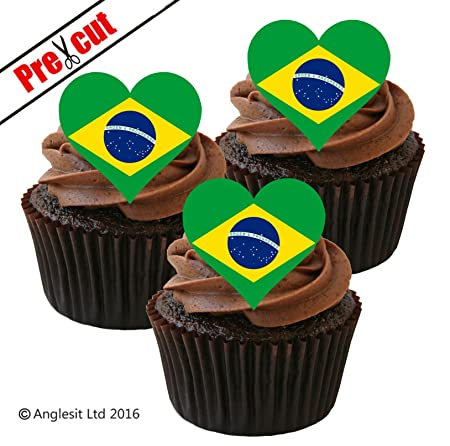 Remarkable 12 X Pre Cut Brazilian Flag Heart Edible Rice Wafer Paper Funny Birthday Cards Online Inifodamsfinfo