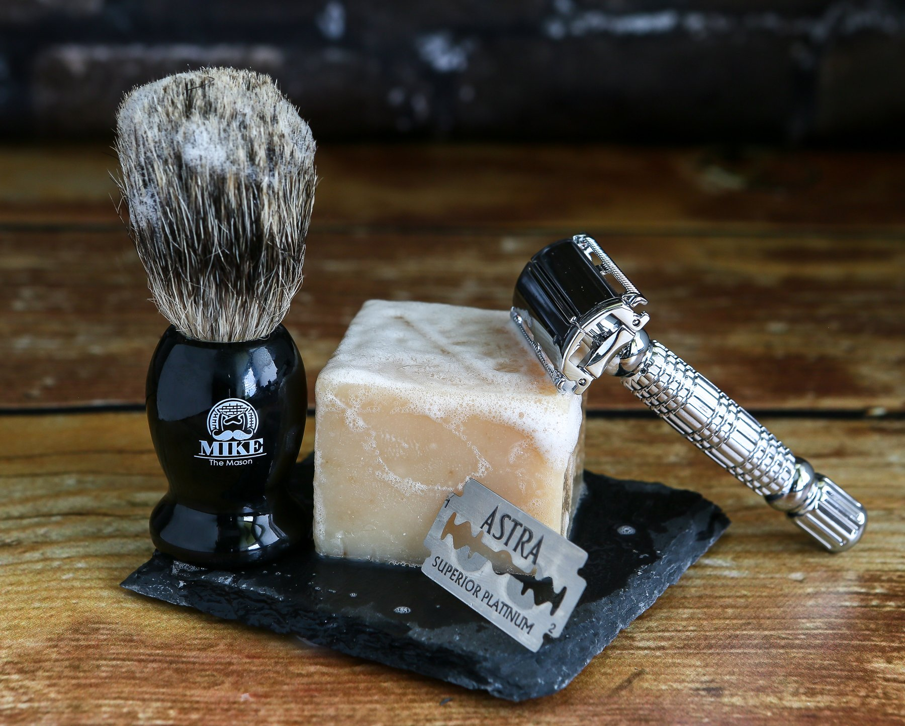 Complete Wet Shave Kit | Mike the Mason | Gift Set Includes: 1 Hawk Razor, 1 Pure 100% Badger Hair Brush, 1 Organic Honey Oatmeal Shave Bar, 5 Premium Mens Blades, and a Razor Stand by Mike the Mason