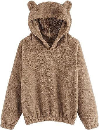 Womens Ladies Long Sleeve Teddy Bear Fluffy Sweatshirt Hooded Coat Pullover Tops