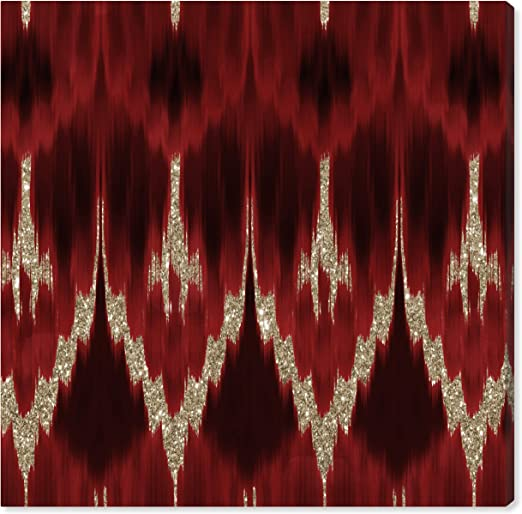 RED ABSTRACT FRACTAL THREADS CANVAS WALL ART PRINT PICTURE READY TO HANG