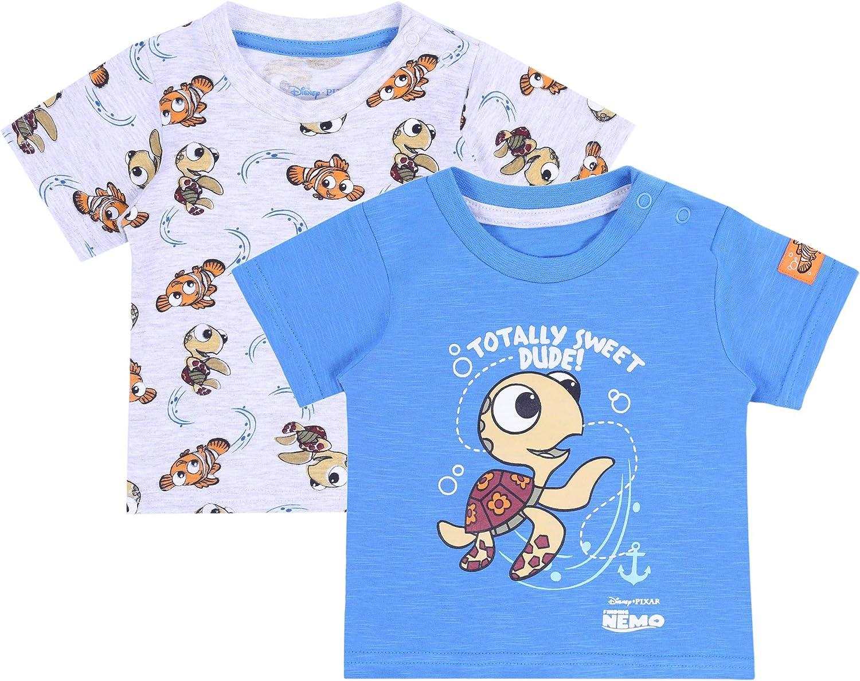 2 x Blue//Grey Top T-Shirt for Boys Finding NEMO Disney