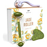 Jade Roller + Gua Sha Tool + Derma Roller 0.25mm Titanium Micro Needles - Promotes Brighter, Smoother Skin - Supports…