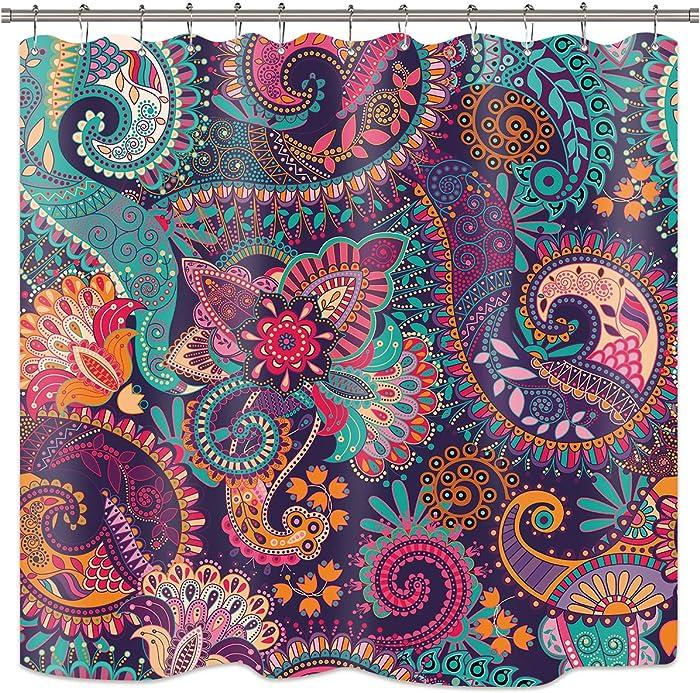 Riyidecor Mandala Indian Bohemian Shower Curtain Paisley Purple Floral Boho Yoga Abstract Tribal Colorful Bathroom Home Decor Set Fabric Waterproof Included 12 Plastic Shower Hooks 72Wx72H Inch