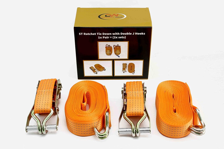 diversitywrap 2 x Ratsche Gurt Tie Down 5T 7 m 81 Eisen Griff und doppelten J Haken 5000 kg Gurtband