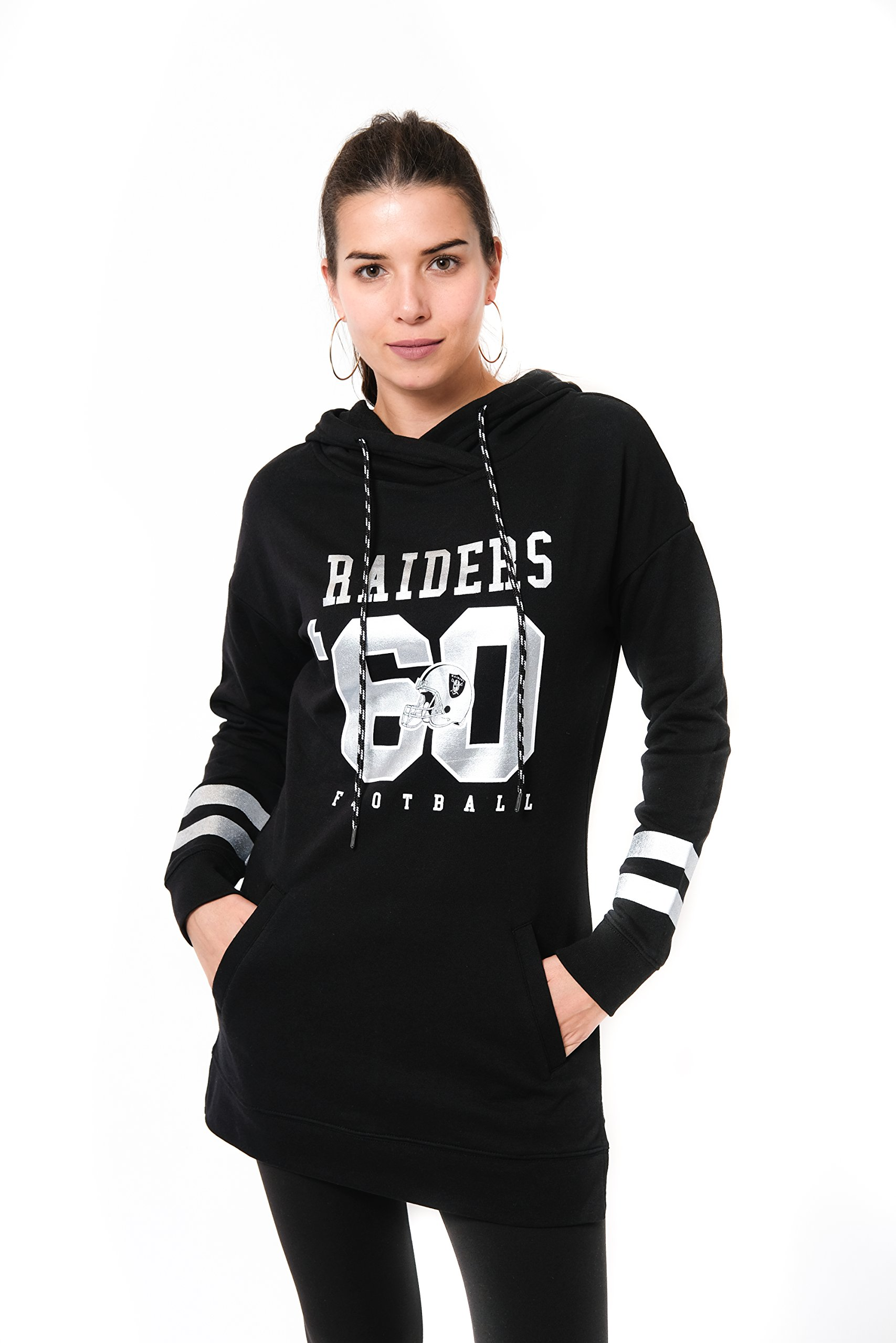Ultra Game NFL Oakland Raiders Women's Tunic Hoodie Pullover Sweatshirt Terry, Team Color, Black, Medium