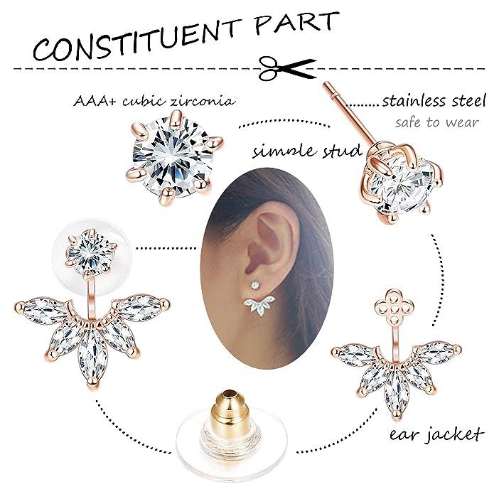9ae716e0db687 Milacolato 5 pairs Hollow Lotus Flower Ear Jackets For Women Girls Ear Stud  Simple Chic Earrings