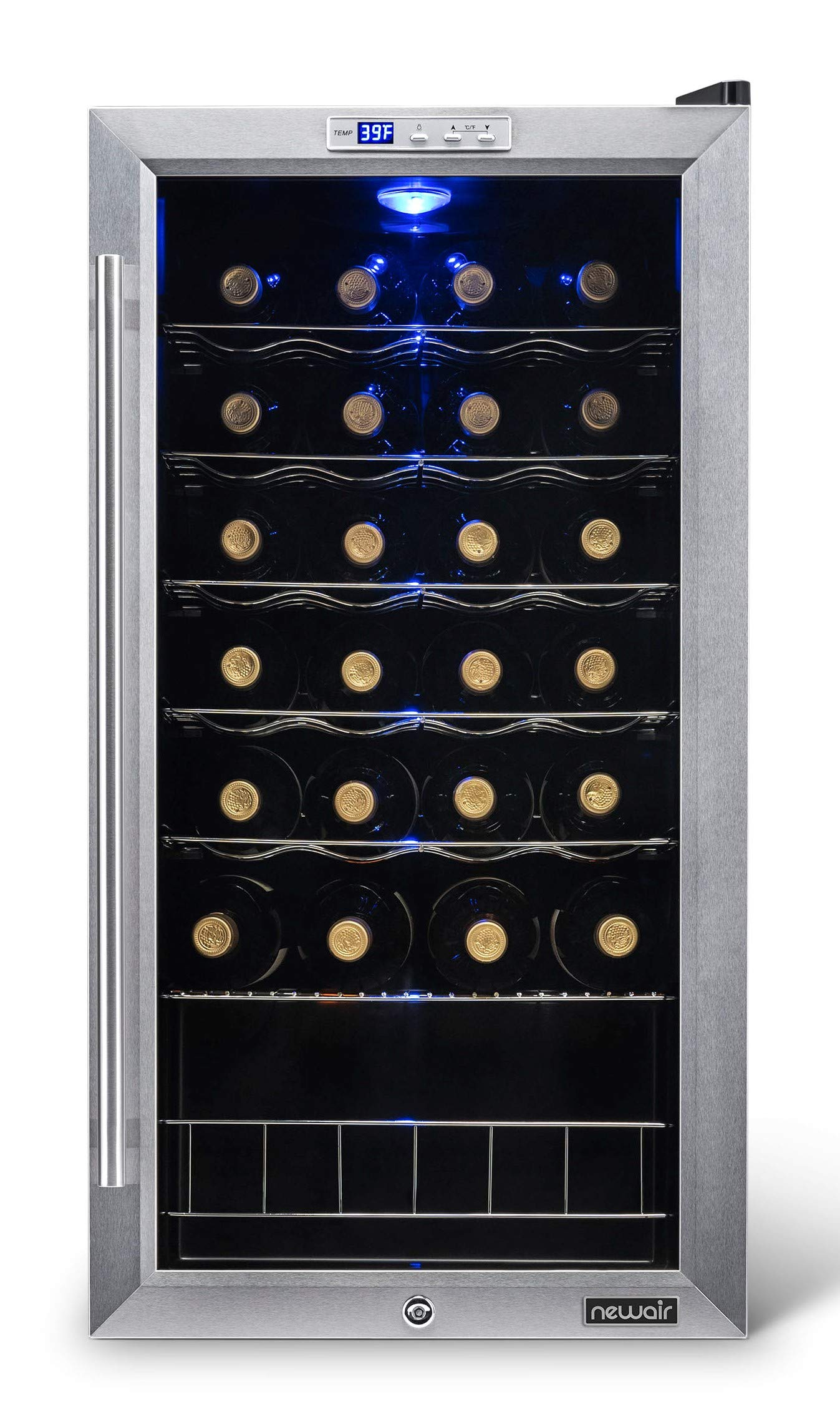 NewAir Wine Cooler and Refrigerator, 27 Bottle Freestanding Wine Chiller Fridge, Stainless steel with Glass Door, AWC-270E by NewAir