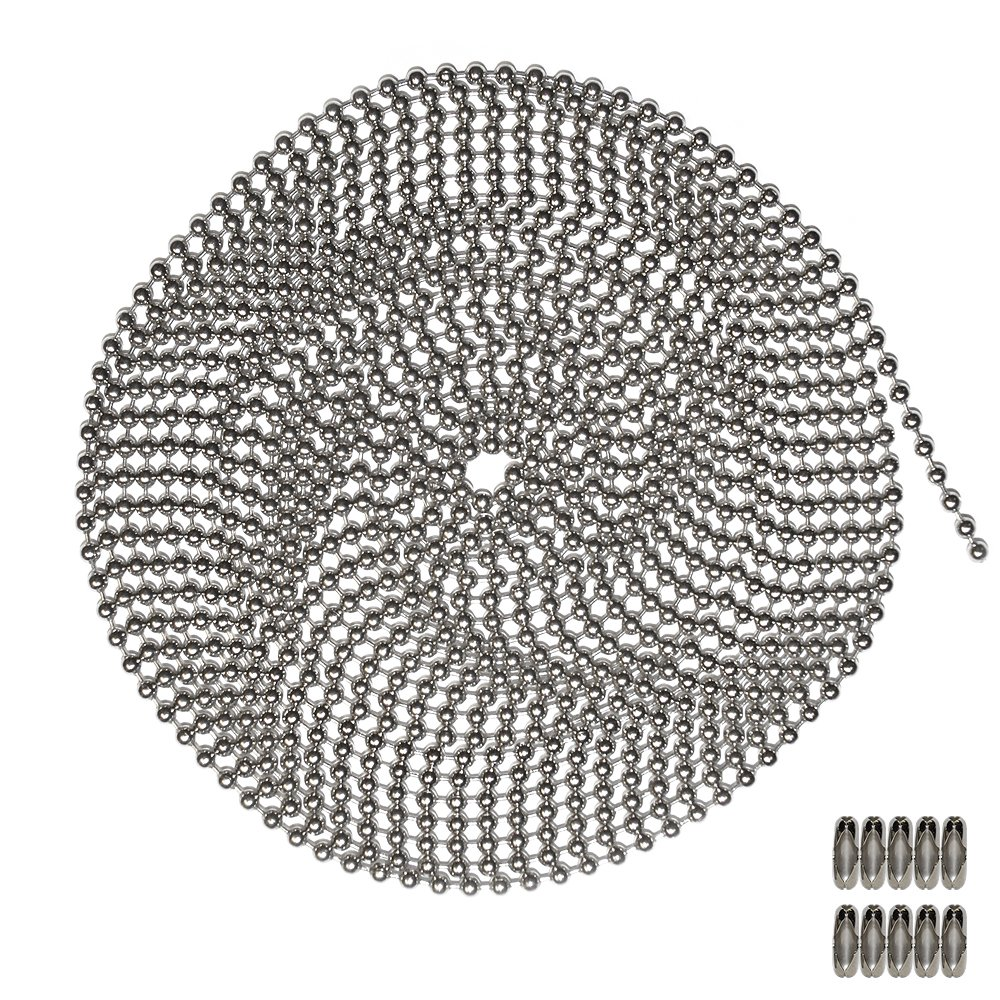 New 10 Foot Length Ball Chain, Number 3 Size, Nickel Plated Brass, 10 Matching Connectors for sale