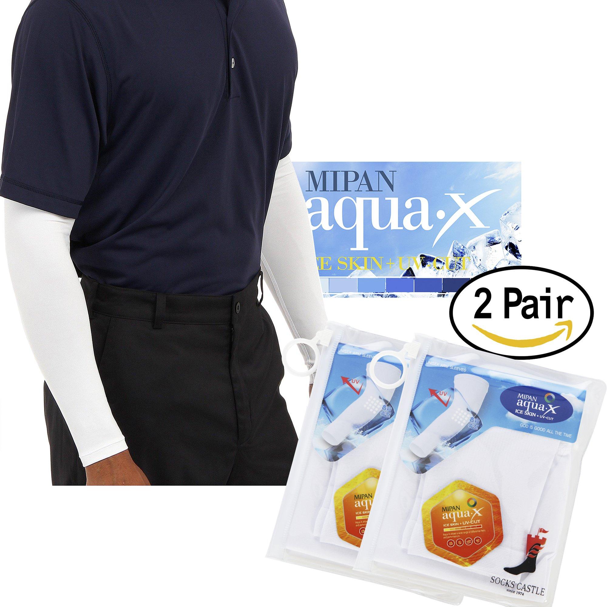 Aqua X ARM Sleeves for Men and Women Sun Protective Skin UV Cut Flexible & Durable (White 2 Pairs)