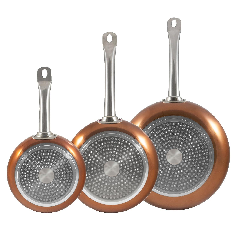 Bergner Europe gmbh Set 3 sartenes Aluminio prensado Copper Plus 18, 22 y 26 cm-Color Cobre, 18x3,8; 22x4,5; y 26x5 cm: Amazon.es: Hogar