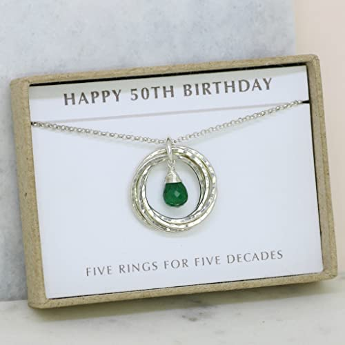 50th Birthday Gift May Birthstone Necklace Emerald For