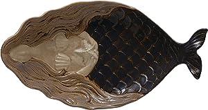 Creative Co-op Stoneware Mermaid Platter, Blue