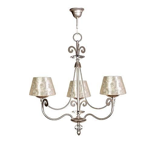 Lámpara de techo de 3 luces acabado plata con pantalla con ...
