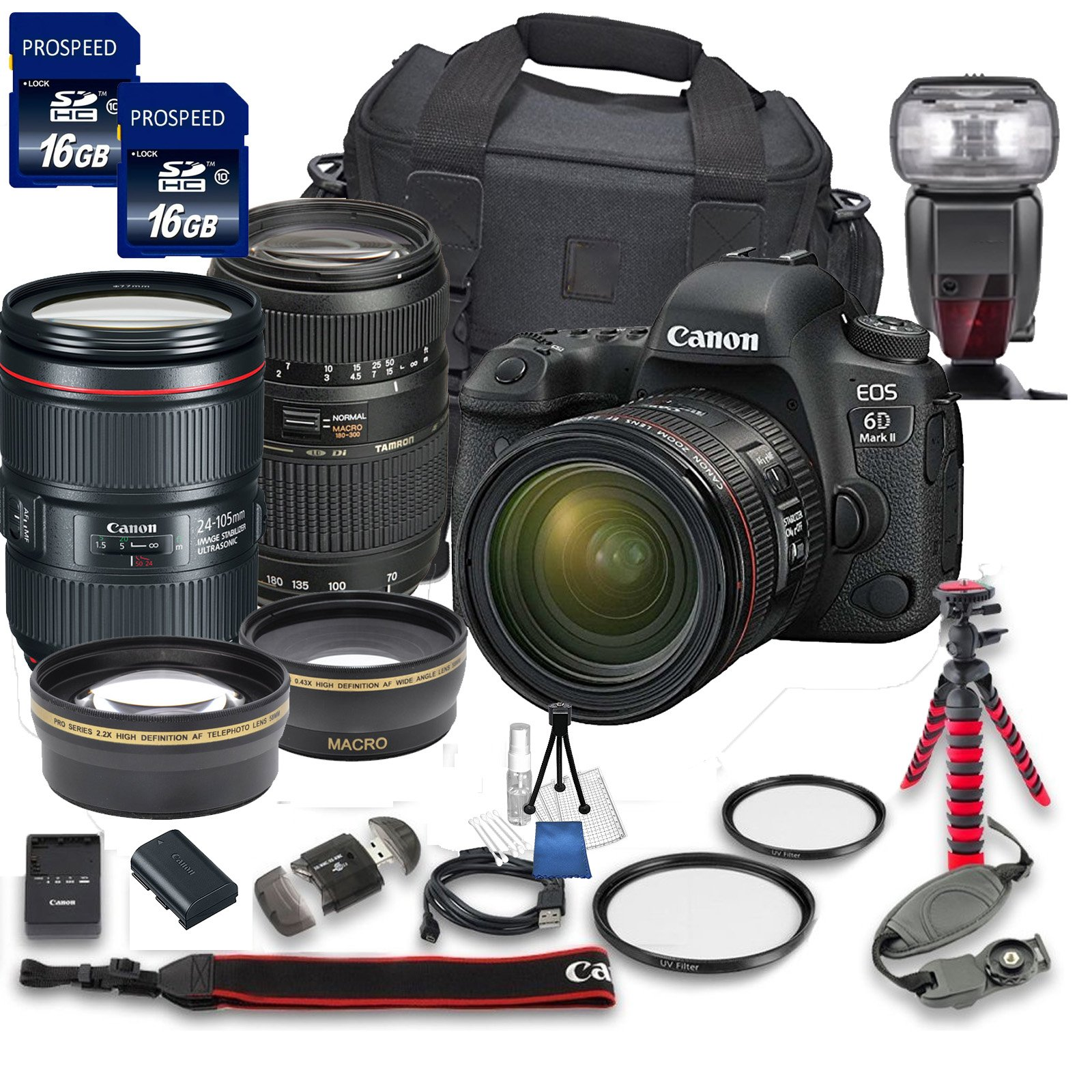 Canon EOS 6D MARK II DSLR Camera Bundle with Canon EF 24-105mm f/4L IS II USM Lens + Tamron 70-300mm f/4-5.6 Telephoto Lens + 2pc PROSPEED 16GB Memory Cards + Premium Accessory Bundle Kit (18 Items) by Canon