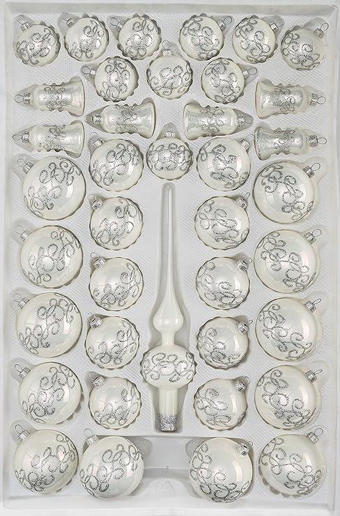 Silberne Weihnachtskugeln.39 Tlg Glas Weihnachtskugeln Set In Hochglanz Weiss Silberne Ornamente Christbaumkugeln Weihnachtsschmuck Christbaumschmuck