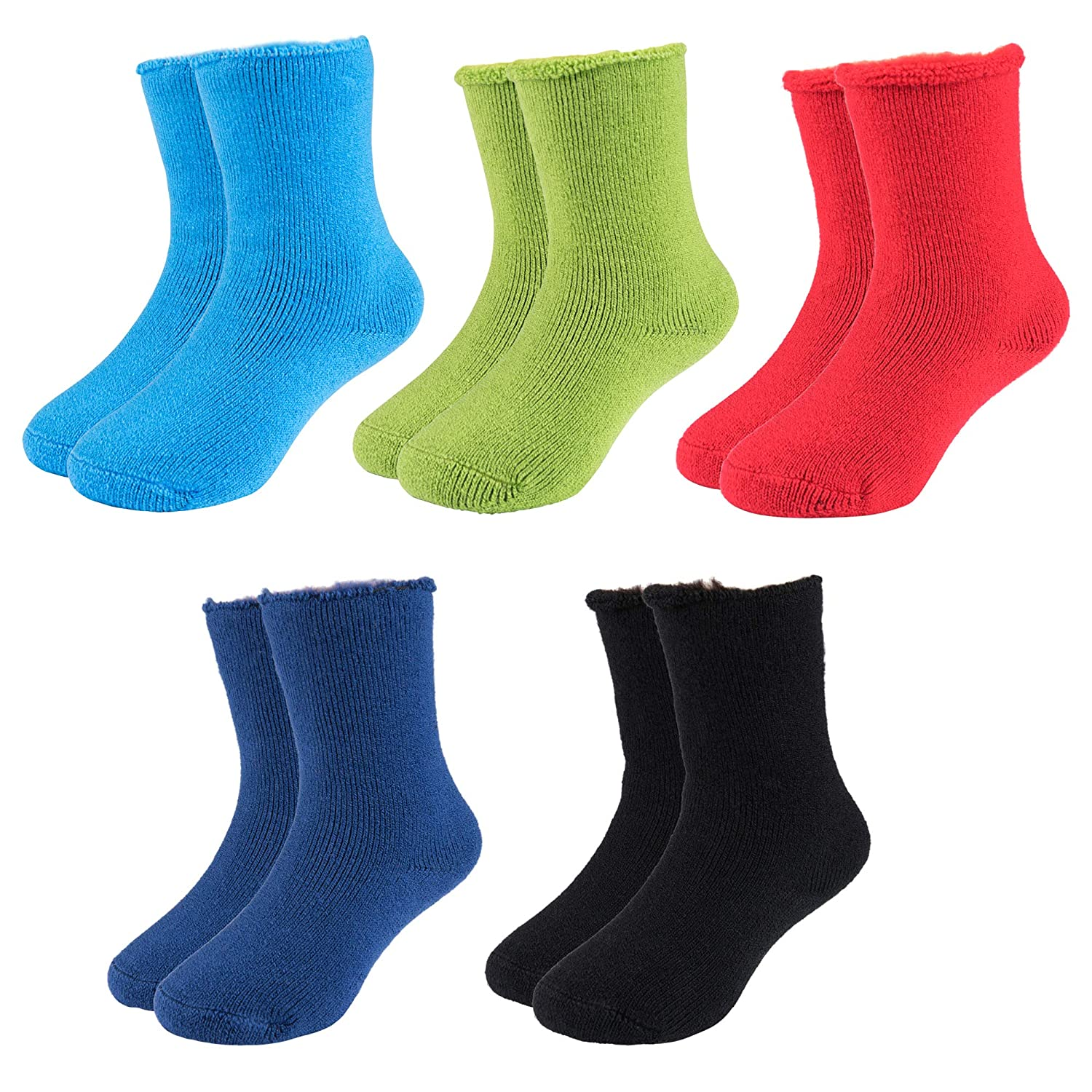 Hot Feet Toddler 5pk Crew Thermal Socks w//Soft Thick Brushing Inside Gripped//Non Gripped Combo