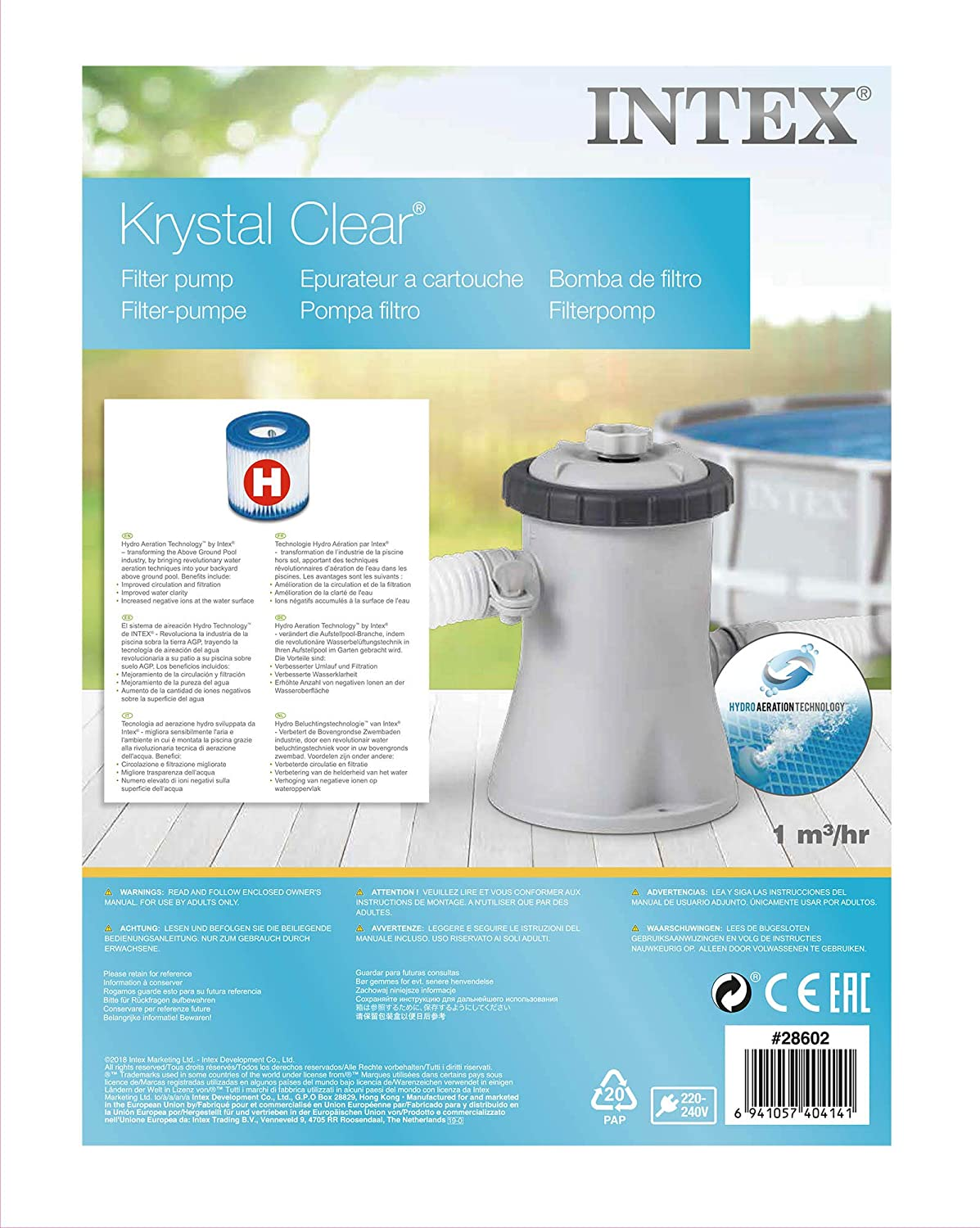 Intex 28602 - Depuradora cartucho tipo H Krystal Clear 1.250 ...