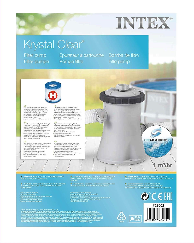 Intex 28602 - Depuradora cartucho tipo H Krystal Clear 1.250 ...