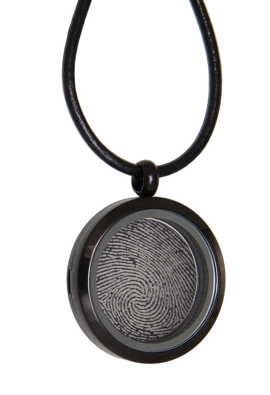 Pendentif médaillon rond en acier inoxydable PVD Noir personnalisé vitrés