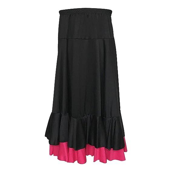 ff8c0a61085 La Señorita Jupe Flamenco enfant noir rose 2 volants  Amazon.fr  Vêtements  et accessoires