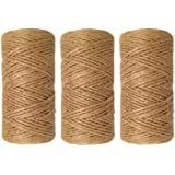 1000 Feet (c. 333 yards) 2mm 3 ply Natural Jute Twine String Rolls for Artworks and Crafts, Gift Wrapping, Picture display and Gardening (3 rolls)
