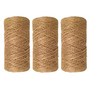 Quotidian 1000 Feet (c. 333 Yards) 2mm 3 ply Natural Jute Twine String Rolls for Artworks and Crafts, Gift Wrapping, Picture Display and Gardening (3 Rolls)