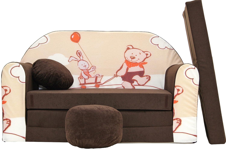 Pro Cosmo mentionner Enfants Canapé-lit avec Pouf/Repose-Pieds/Oreiller, Tissu, Marron, 168x 98x 60cm 5902020145196