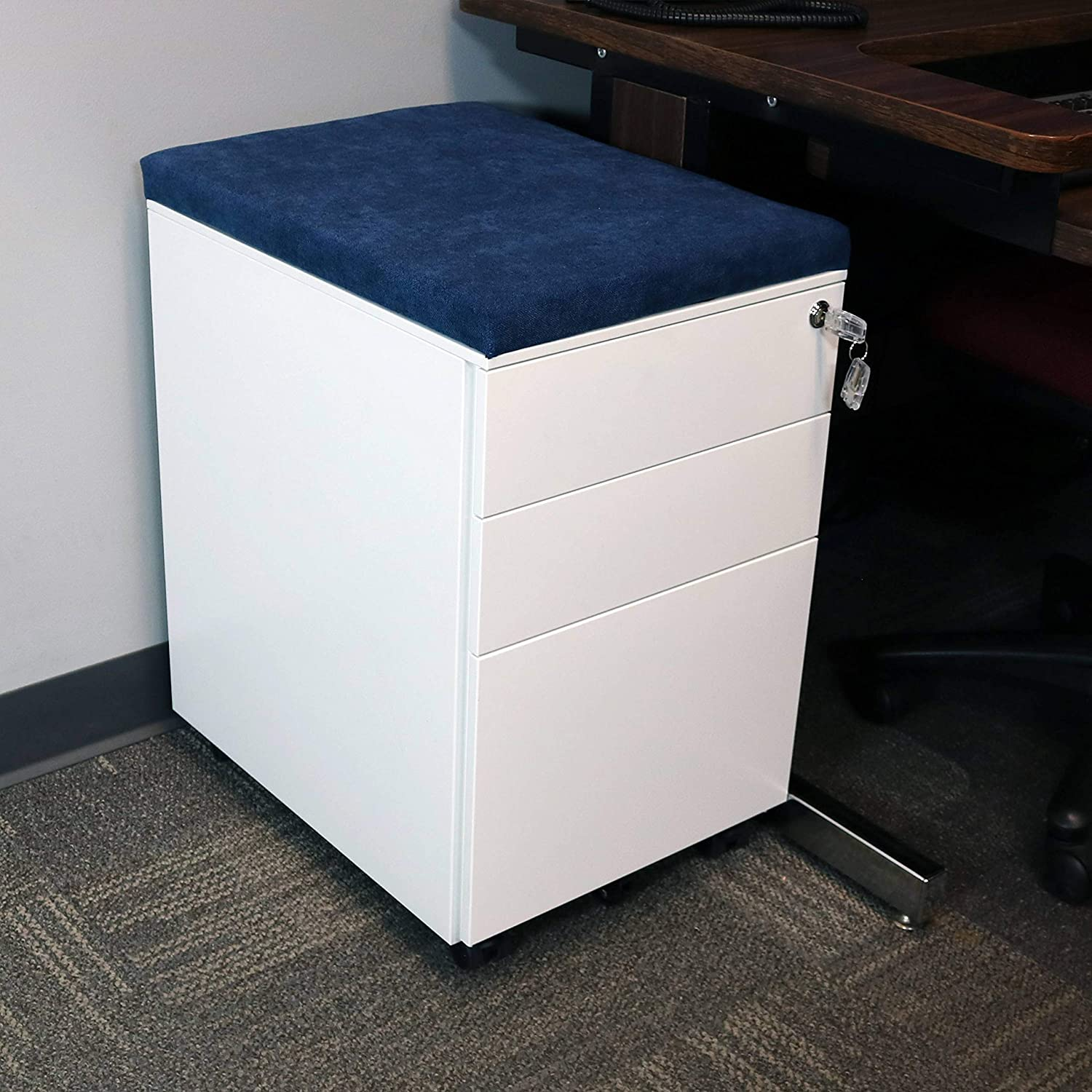 CASL Brands Rolling Mobile File Cabinet with Lock /& Cushion Seat Black with Gray Cushion Small Steel 3-Drawer Filing Storage System