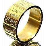 [ZIG's] 金色に刻まれた、言霊に宿る迫力・マントラ(真言) お経ring 彫デザイン Surgicalステンレス 高品質 (risu07+c)