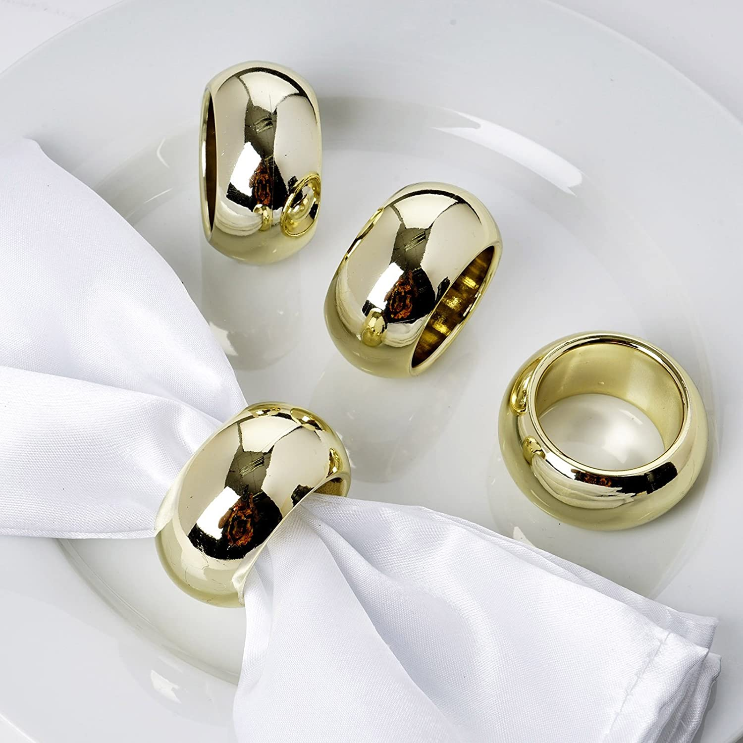 Efavormart 4 PCS Wholesale Black Acrylic Napkin Rings for Place Settings Wedding Receptions Dinner or Holiday Parties Tableware