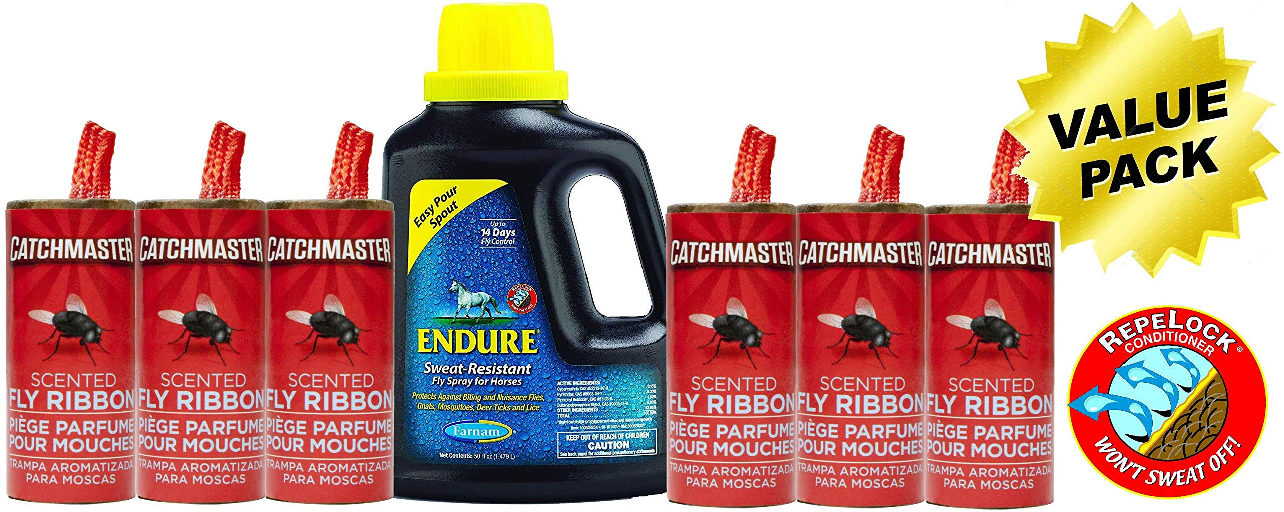 Farnam Solutions Horse Fly Spray Repellent Value Pack - Endure Sweat-Resistant Fly Spray for Horses, 50 oz Easy Pour Bottle with (6) Complimentary Catchmaster Pro Strength Fly Ribbons by Farnam Solutions