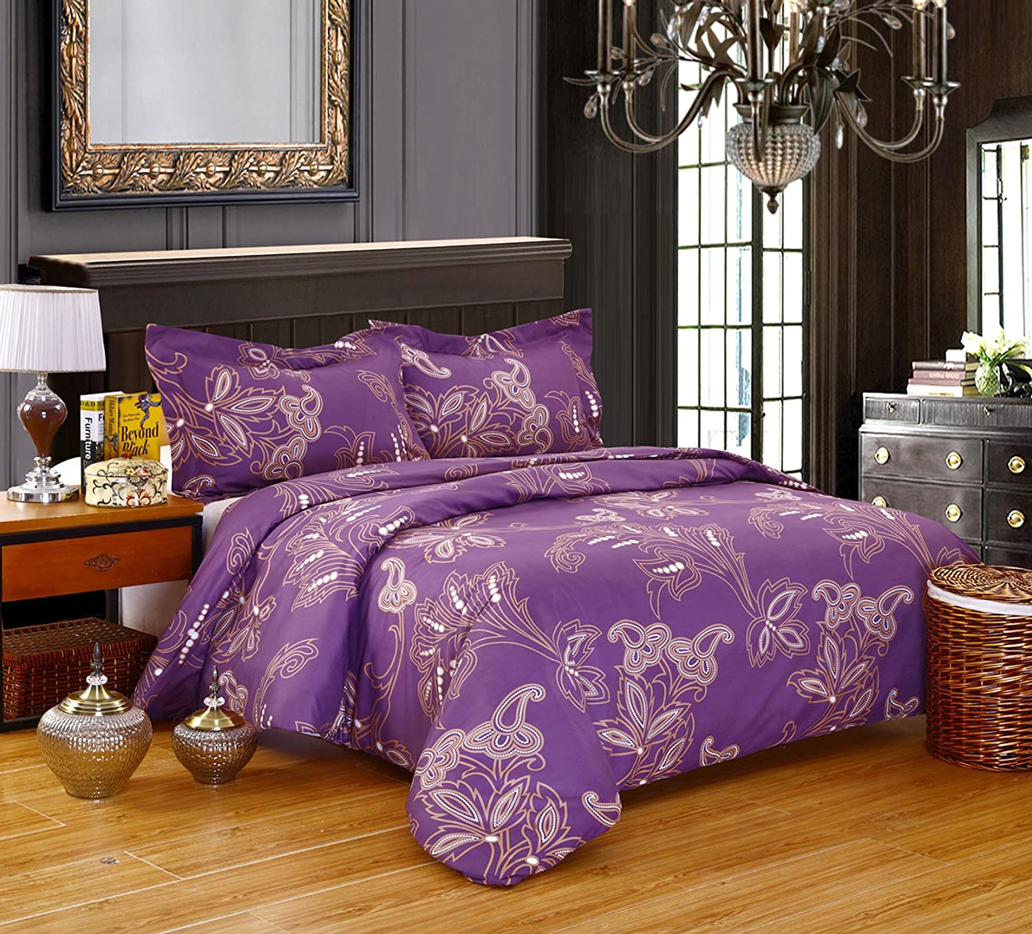 Luxury Hotel Quality Comfortable 3 pcs set Duvet Cover Full/Queen Lilac