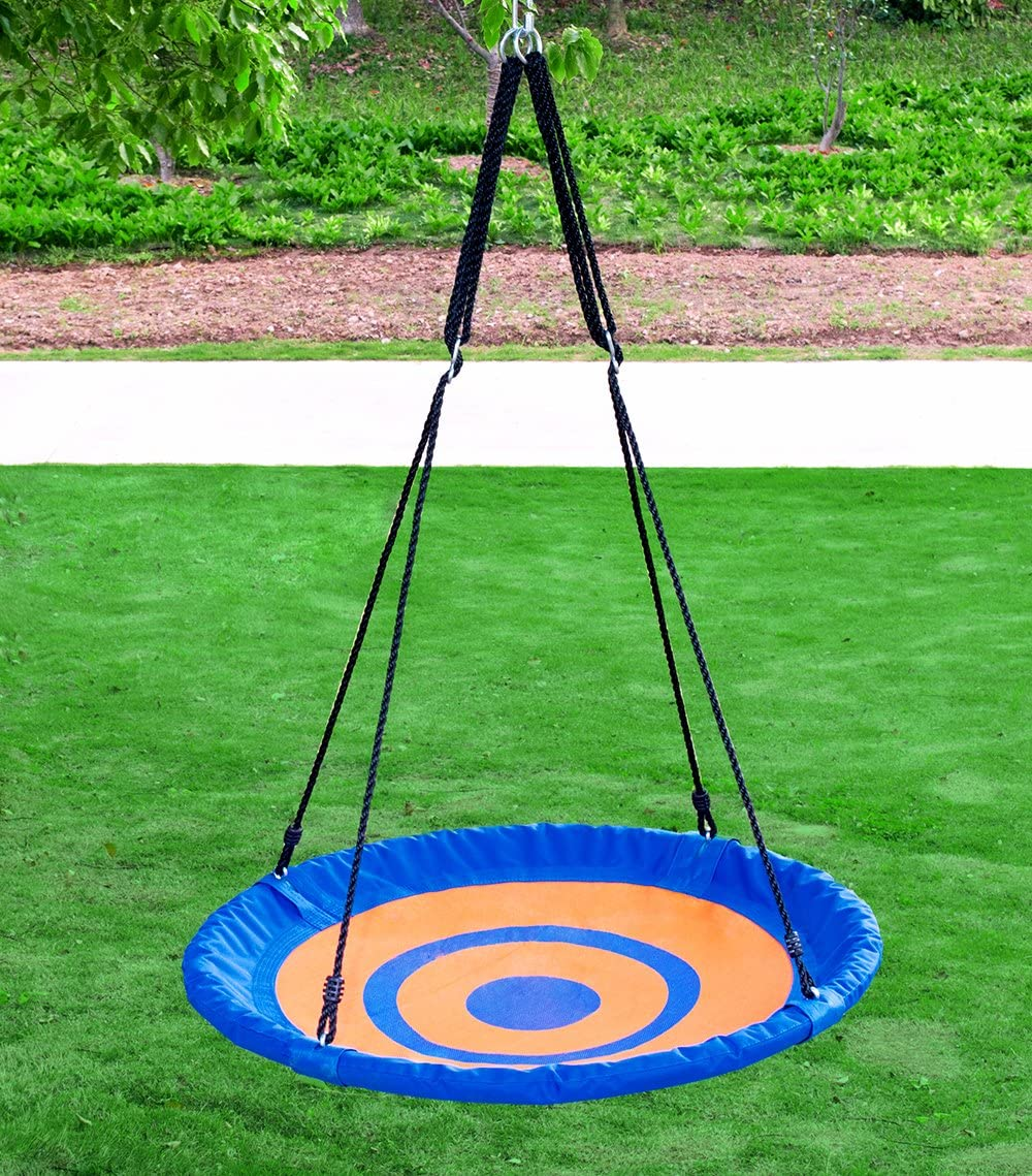 Clevr 40 Outdoor Round Target Tree Net Saucer Swing, Teslin Web Swing, Blue Orange Detachable 360 Degree Spin Swivel Hanging Hardware Adjustable 71 Height Rope, 600 lbs. Limit