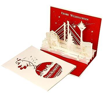 Weihnachtskarte Düsseldorf Skyline 3d Pop Up Karten Pop Up