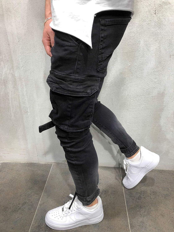 BMEIG Jeans Skinny da Uomo Strappati Stretch Denim Pants Distressed Ripped Sfilacciato Slim Fit Pantaloni Patchwork Pocket Work Hiphop Cargo Sweatpants M-4XL