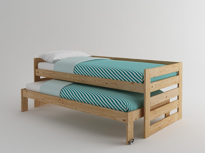 Cama Compacta De Madera Maciza 2 Colchones Barniz Natural  # Muebles Lufe Instrucciones