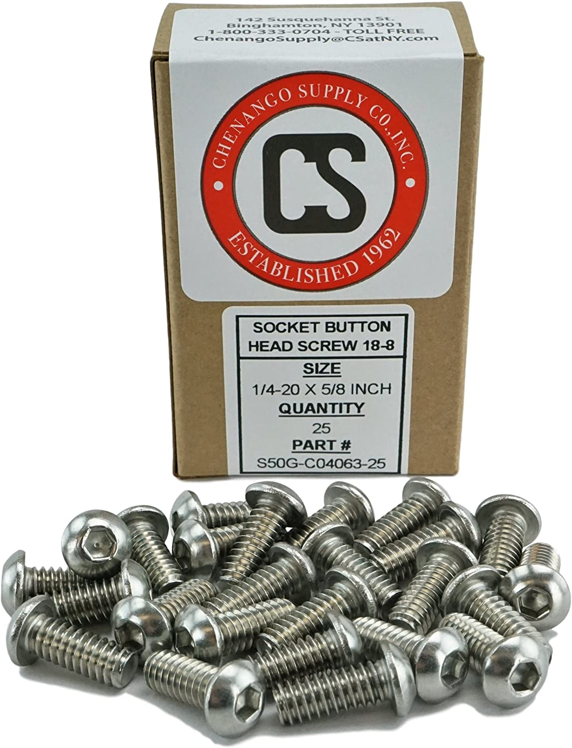 Socket Button Head Cap Screws Full Thread 1//2 to 3 Available Stainless Steel 18-8 Stainless 1//4-20 x 1 Coarse Thread Hex Drive 1//4-20 x 1
