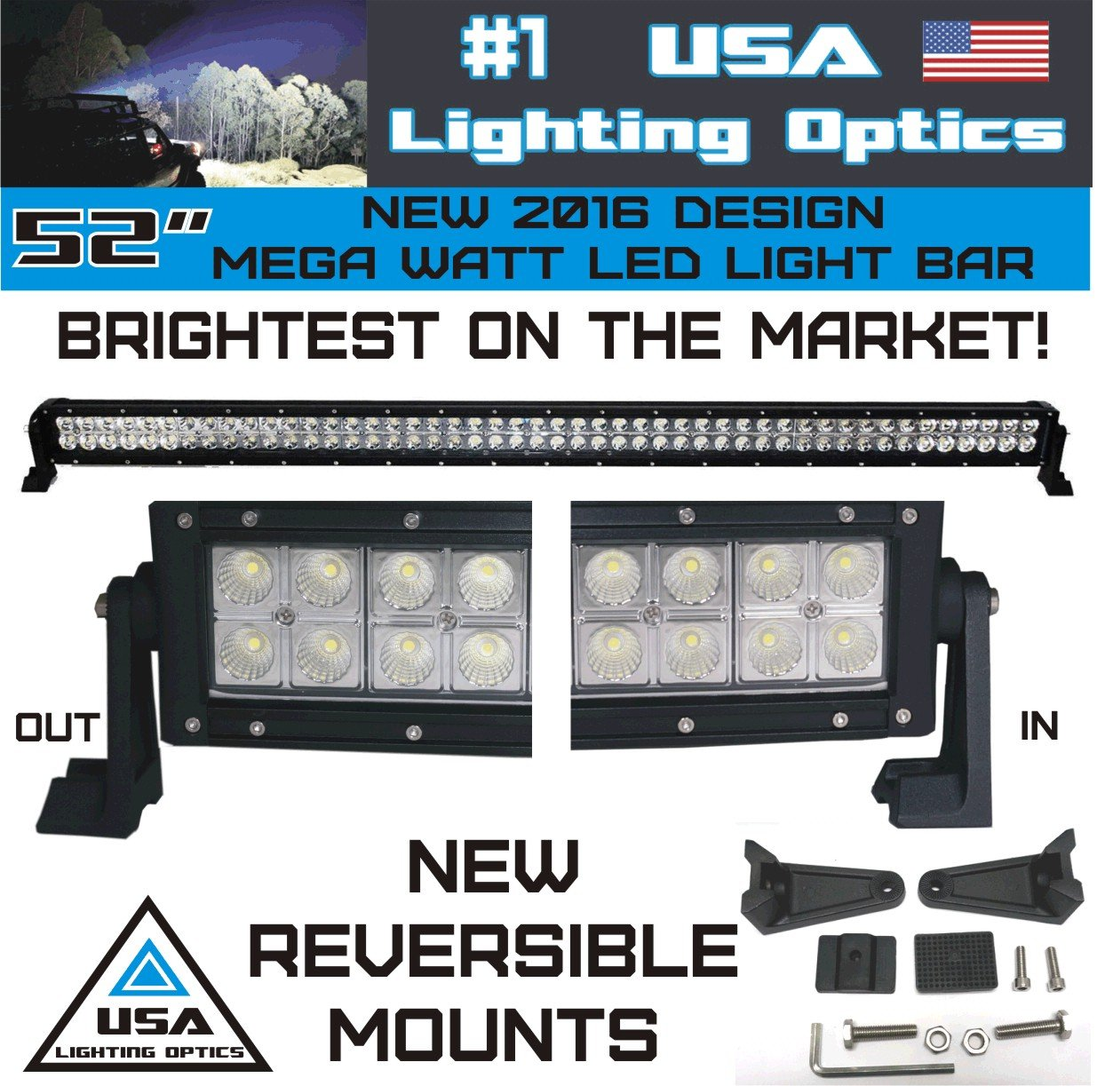Amazon new 2016 52 inch 300w mega led light bar by usa lighting amazon new 2016 52 inch 300w mega led light bar by usa lighting optics tm spot flood combo beam lumens 30200lm made for extreme offroad trucks 4x4 aloadofball Choice Image