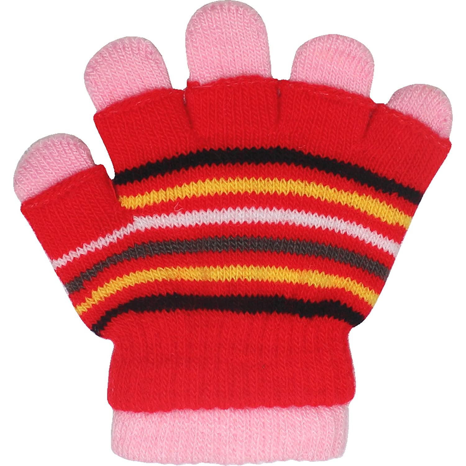 Toddlers Boys & Girls Unisex Striped Magic 2 in 1 Thermal Winter Gloves & Fingerless Gloves