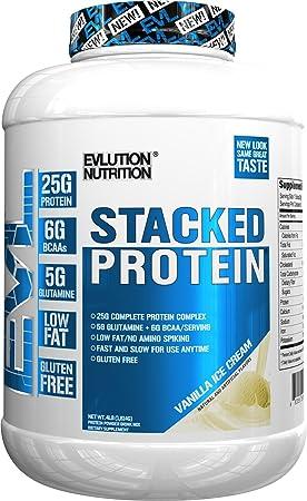 Evlution Nutrition Stacked Protein 1,82 kg Proteína en Polvo con 25 Gramos de Proteínas, 5 Gramos de BCAA y 5 Gramos de Glutamina (Vanilla Ice Cream)