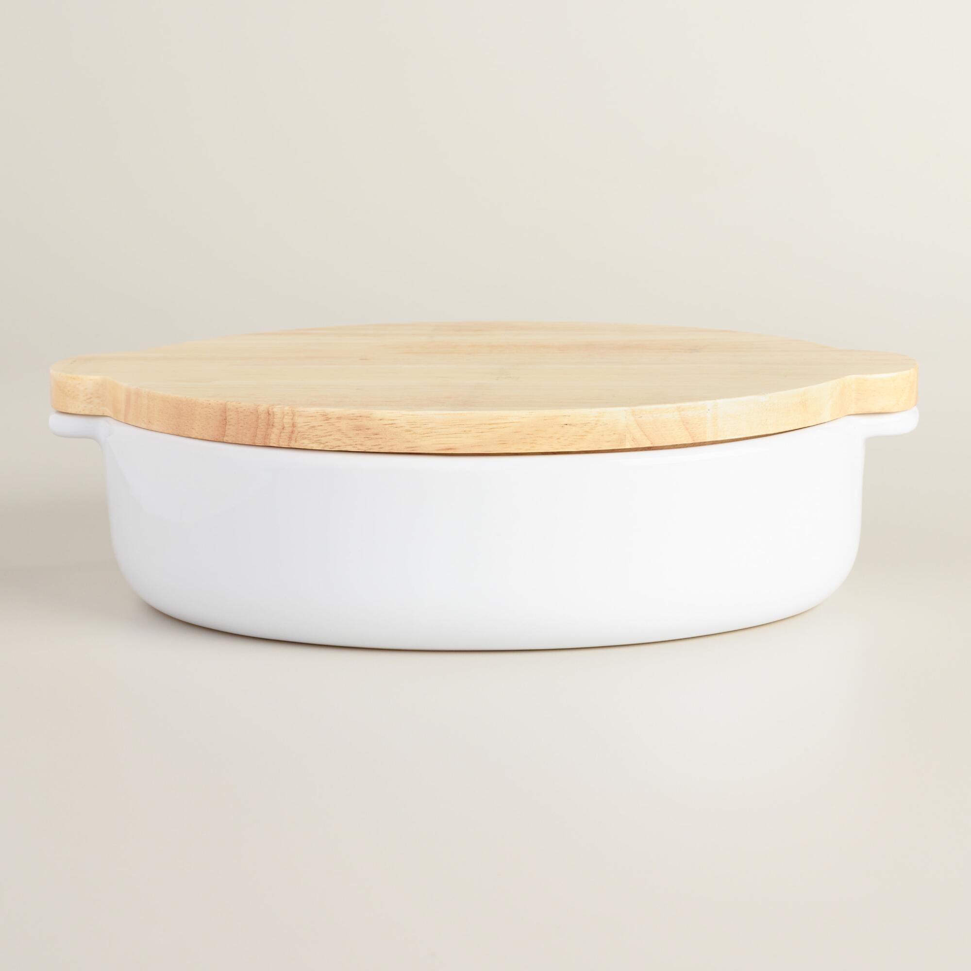 Large White Ceramic Baker with Wood Trivet Lid | World Market