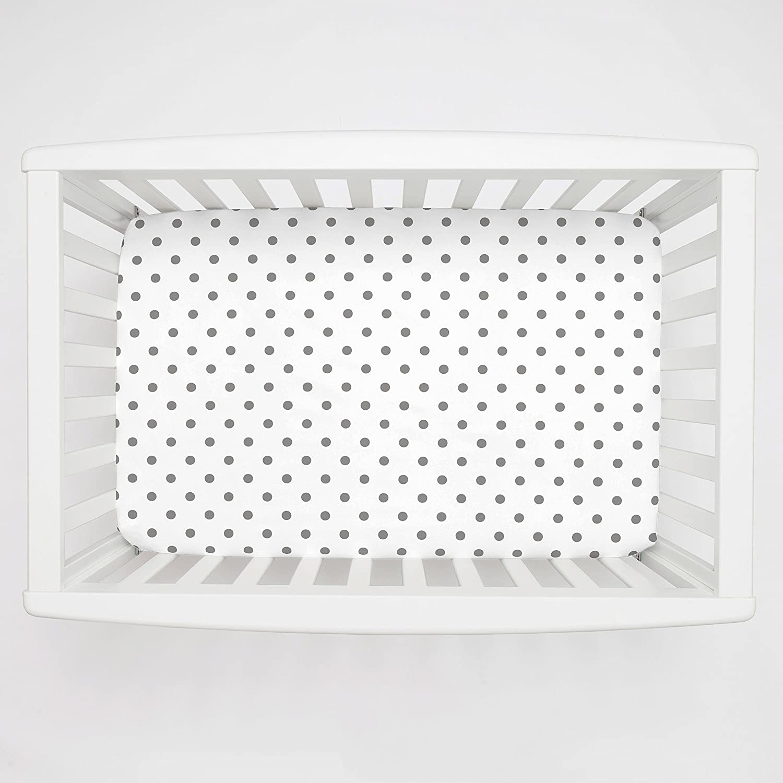 Carousel Designs White and Gray Polka Dot Mini Crib Sheet 5-Inch-6-Inch Depth by Carousel Designs   B00L891DH6