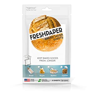 FRESHPAPER Food Saver Sheets for Bread | Keep Baked Goods Fresh | Perfect for Bagels, Muffins, Cookie Platters and Party Prep | BPA Free | Made in USA
