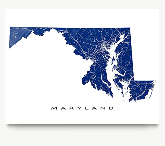 Amazoncom Maryland Map Print MD USA State Art Poster Outline