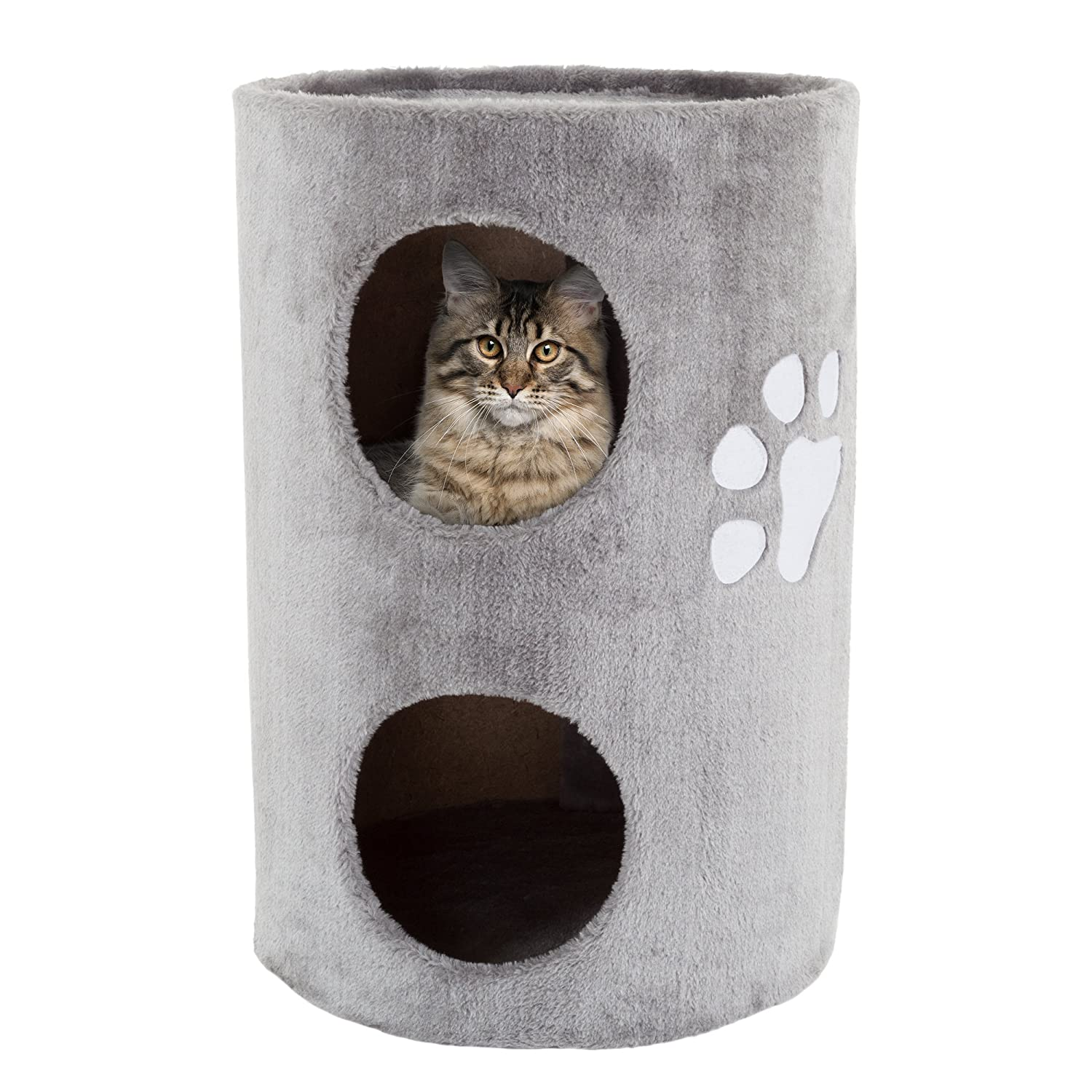 "PETMAKER Cat Condo 2 Story Double Hole with Scratching Surface, 14"" x 20.5"", Gray"