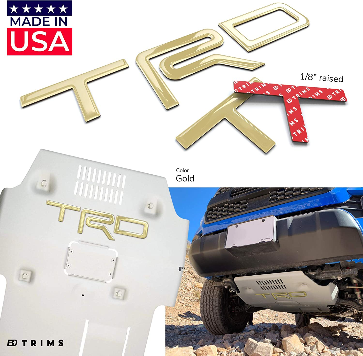 SF Sales USA Gold Chrome Letters fit Tundra 2014-2019 Rear Tailgate Inserts Not Decals
