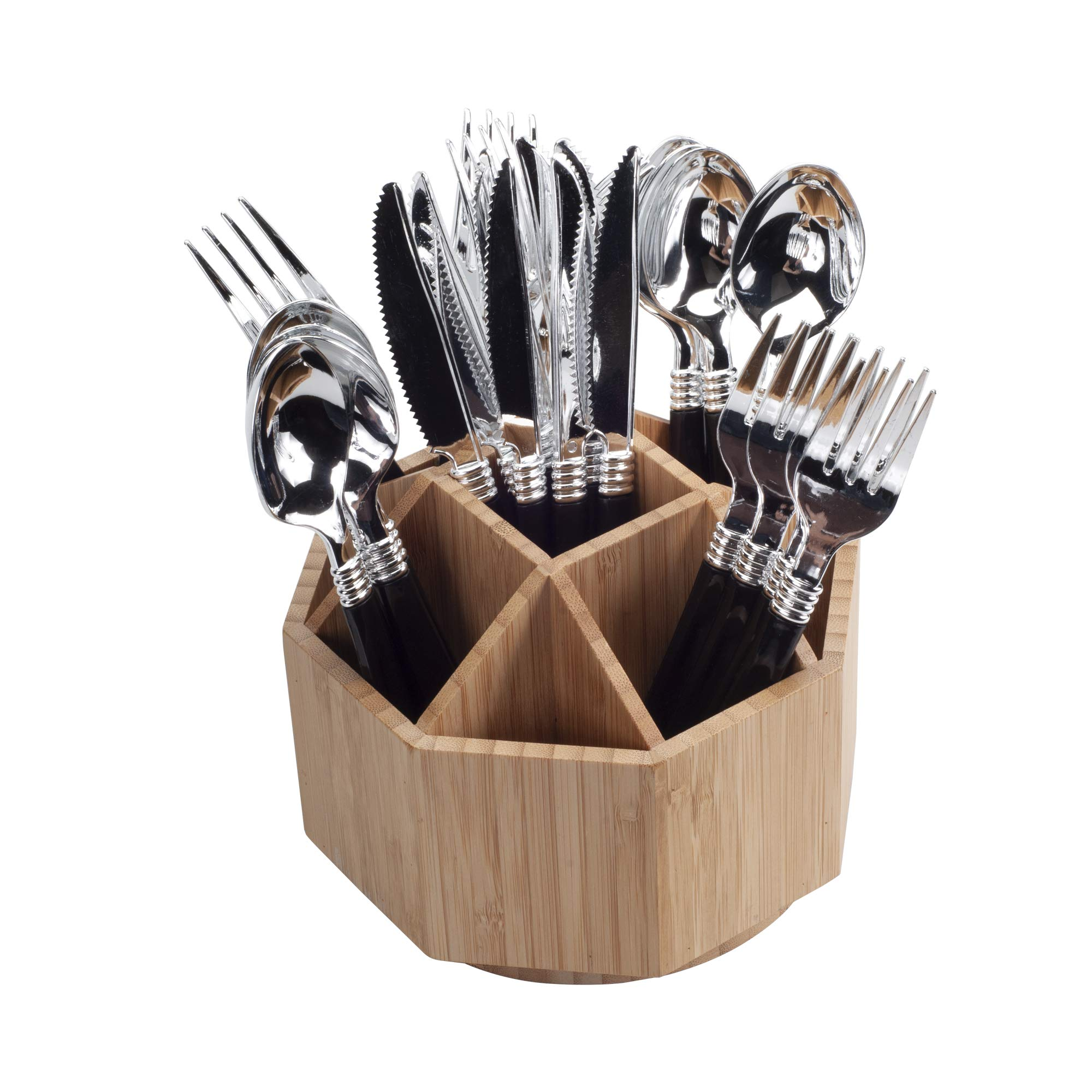 Bamboo Rotating Utensil Holder & Kitchen Organizer, Multiple Compartments, 9 Sections, store Forks, Serving Spoons, Knives, and other cooking tools