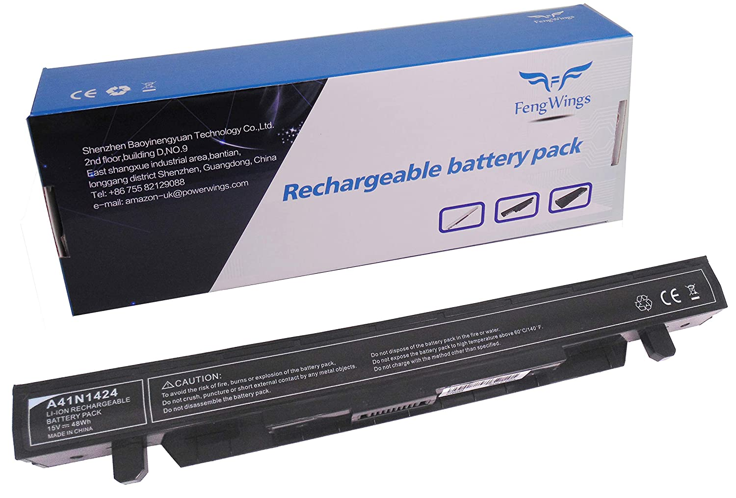 FengWings A41N1424 15V 48Wh 3200mAh Batterie pour ASUS GL552 GL552J GL552JX GL552V GL552VW ROG GL552 GL552J GL552JX GL552V GL552VW ZX50 ZX50J ZX50JX