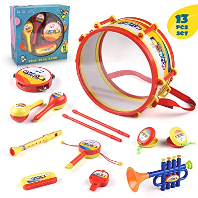 BRITENWAY Toddler Music Drum Toys, Kids Percussion Musical Instruments for Boys and Girls, Educational Music Toy Set with Drums, Percussion, Tambourine, Trumpet, Maraca, Harmonica, Flute and More: Toys & Games
